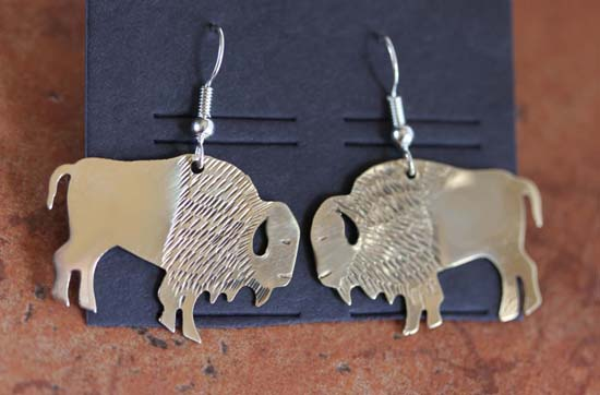 Navajo Silver Buffalo Earrings by Virgil Reader