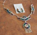 Zuni Multi_Stone Necklace/Earrings by H Yazzie