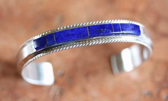 Navajo Silver Lapis Bracelet by F Yazzie