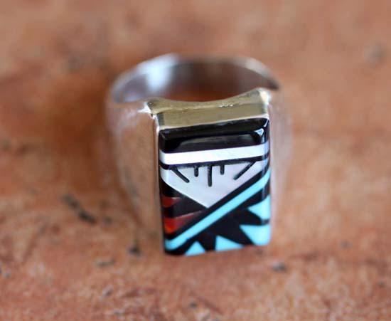 Zuni Silver Multi_Stone Ring Size 10