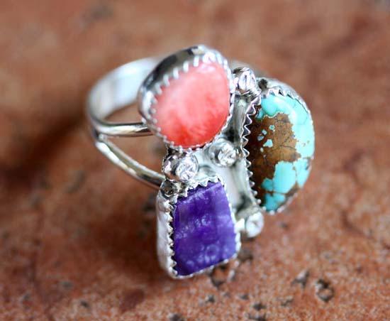 Navajo Silver Multi_Stone Ring Size 9