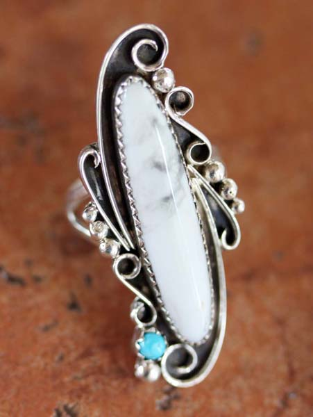 Navajo Silver Howlite Ring Size 6 1/2