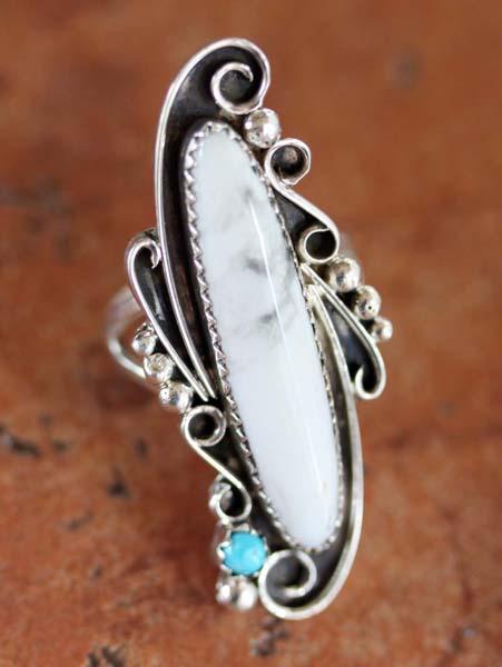 Navajo Silver Howlite Ring Size 6 1/2