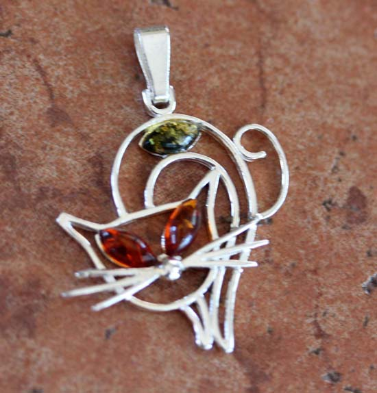 Sterling Silver Baltic Amber Cat Pendant