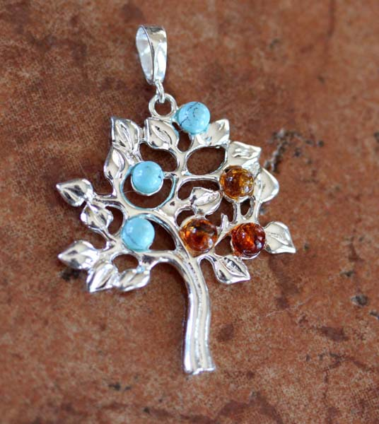 Sterling Silver Baltic Amber Turquoise Tree Pendant