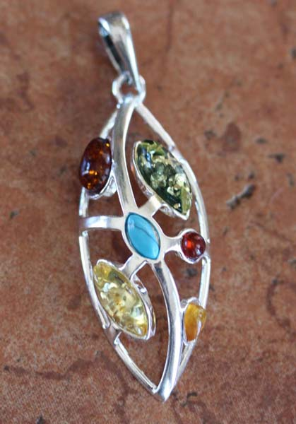 Sterling Silver Baltic Amber Turquoise Pendant