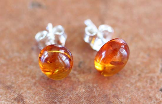 Sterling Silver Baltic Amber Earrings