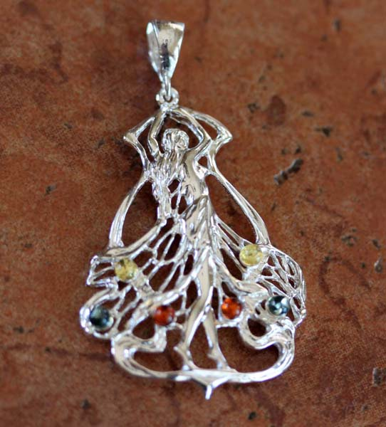 Sterling Silver Baltic Amber Dancer Pendant