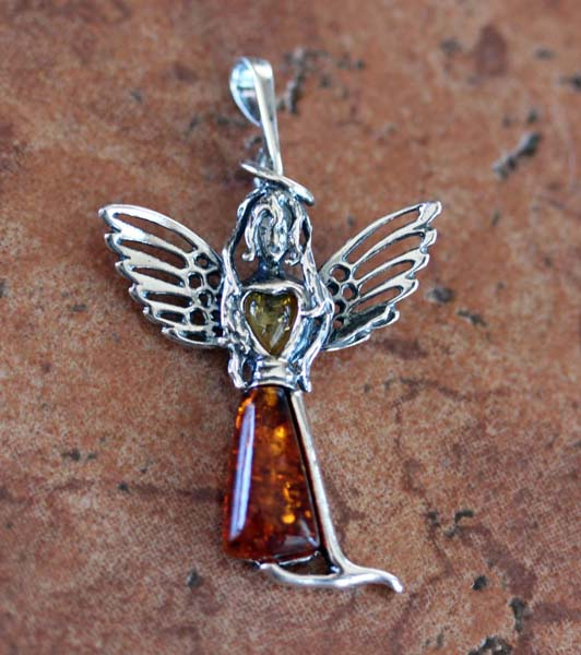 Sterling Silver Baltic Amber Angel Pendant