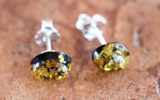 Sterling Silver Baltic Green Amber Earrings