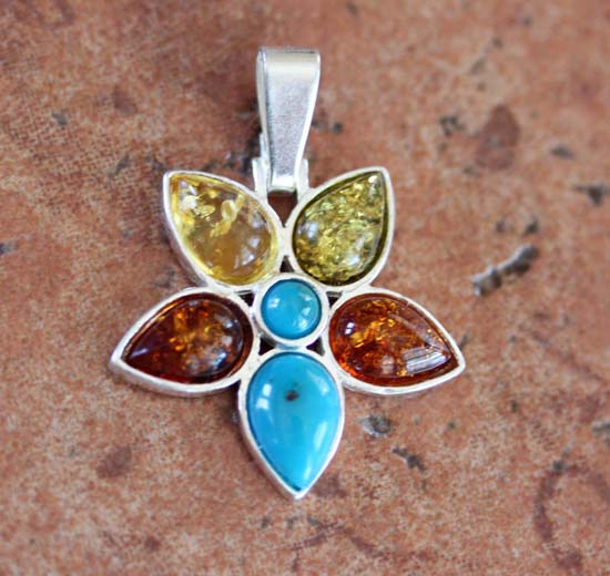 Sterling Silver Baltic Amber Flower Pendant