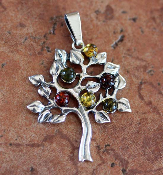 Sterling Silver Baltic Amber Tree Pendant