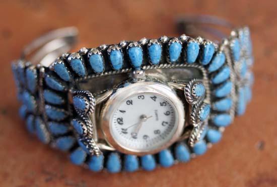 Navajo Silver Denim Lapis Cluster Watch Bracelet