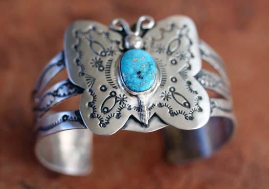 Navajo Silver Turquoise Butterfly Bracelet
