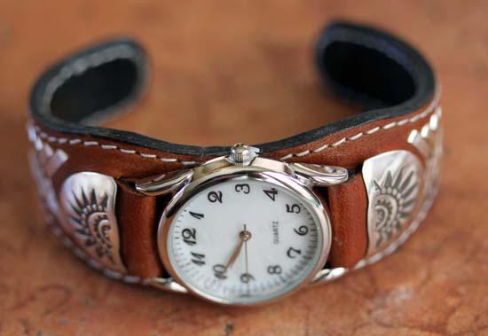 Navajo Leather Men's Watch Bracelet