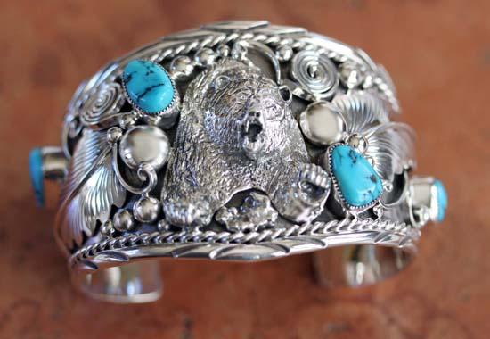 Navajo Silver Turquoise Bear Bracelet
