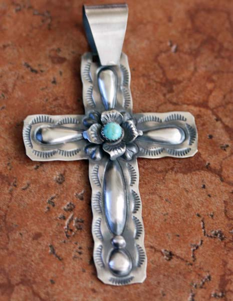 Navajo Silver Turquoise Cross Pendant