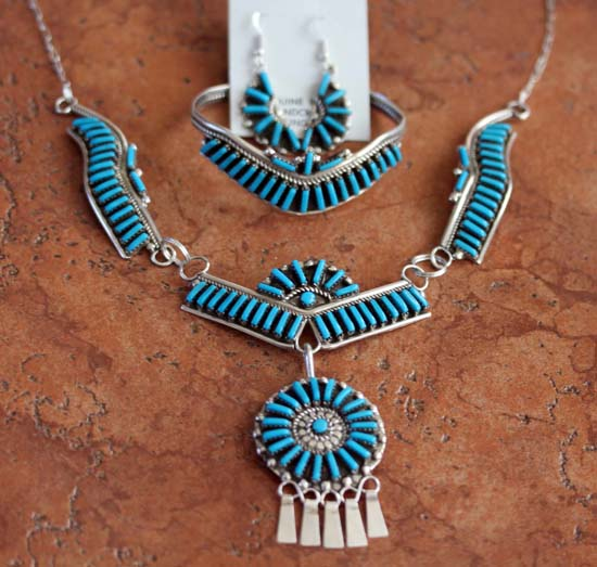 Zuni Turquoise Necklace/Earrings/Bracelet Set