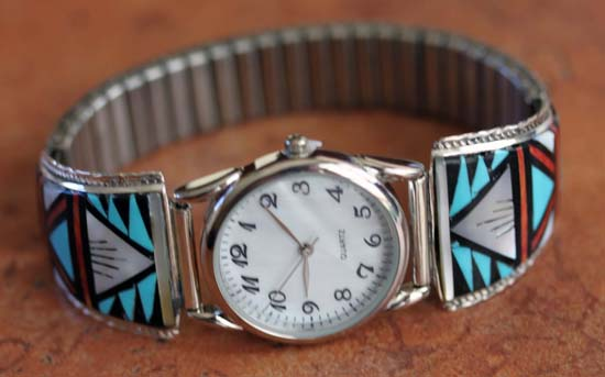 Zuni Multi_Stone Inlay Men's Watch