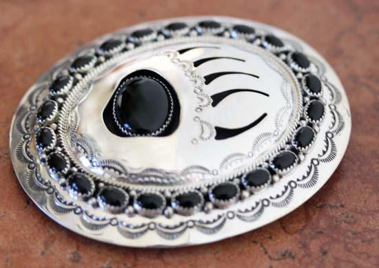 Navajo Silver Onyx Bear Paw Belt Buckle