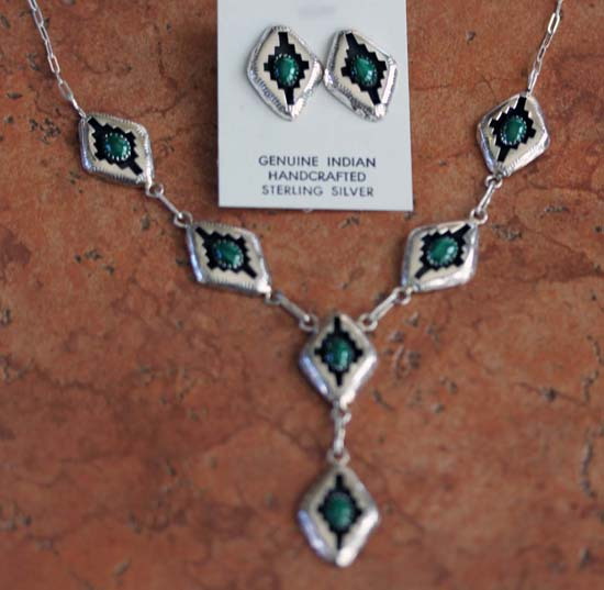 Navajo Sterling Malachite Necklace Set