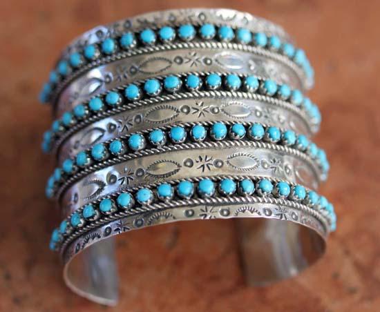 Zuni Silver Turquoise Bracelet by JP Ukestine