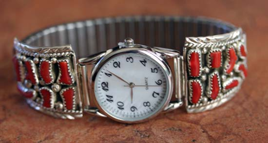 Navajo Silver Coral Men's Watch