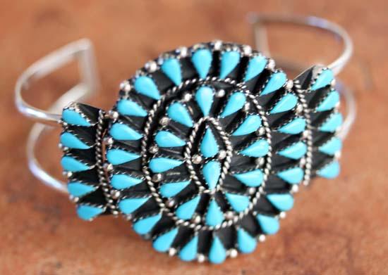 Zuni Sterling Silver Turquoise Cluster Bracelet