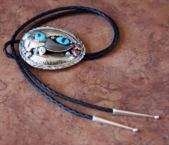 Navajo Silver Turquoise Coral Bear Claw  Bolo Tie