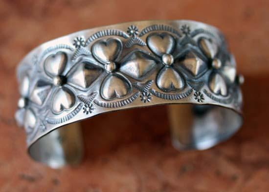 Navajo Sterling Silver Heart Cuff Bracelet