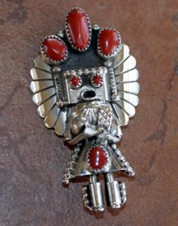 Navajo Coral Kachina Pin/Pendant by Doris Small Canyon
