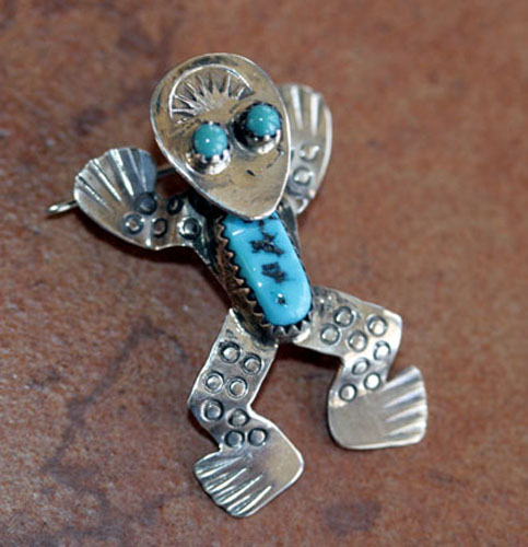 Navajo Sterling Silver Turquoise Frog Pin/Pendant