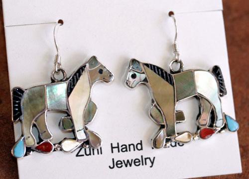 Zuni Indian Silver Horse Earrings by Carmen Leekity