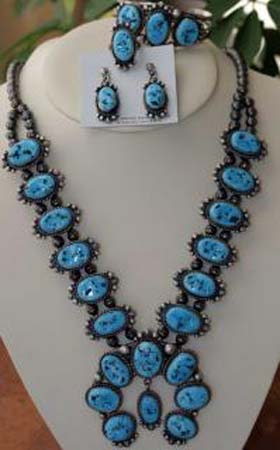 Navajo Turquoise Necklace Set by M Spencer