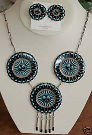 Zuni Multi_Stone Necklace and Earrings