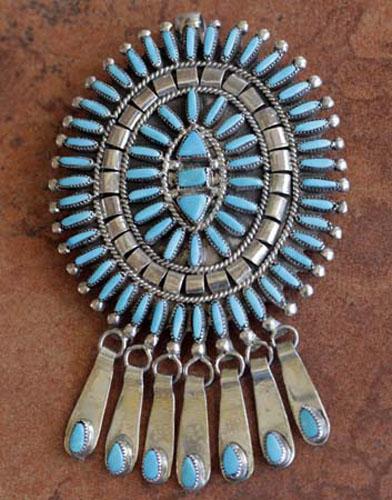 Zuni Turquoise Pin/Pendant by B Etsate