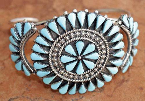 Zuni Turquoise Cluster Bracelet by Arvina Sandoval