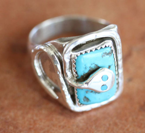 Zuni Sterling Turquoise Ring by Effie C