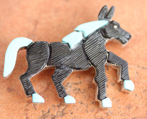 Zuni Native American Multi_Stone Horse Pin by Lonjose