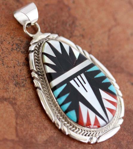 Zuni Silver Multi_Stone Pendant by LL Chavez