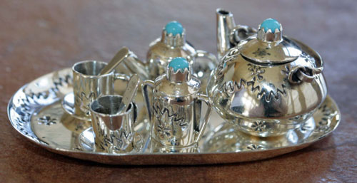 Navajo Miniature Tea Set with Tray by Leslie Whitman