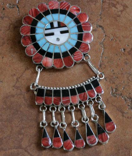 Zuni Sunface Pin/Pendant by JU Massie