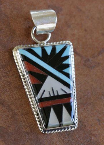 Zuni Silver Multi_Stone Pendant by Gladys Lamy