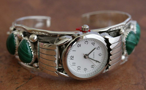 Navajo Malachite Ladies Watch Bracelet by H Martinez
