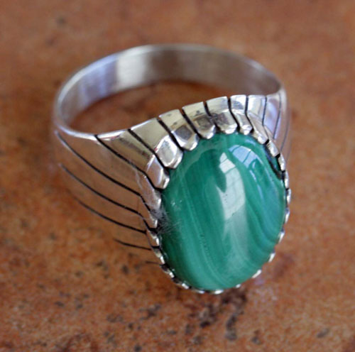 Navajo Silver Malachite Ring by Bea Tom