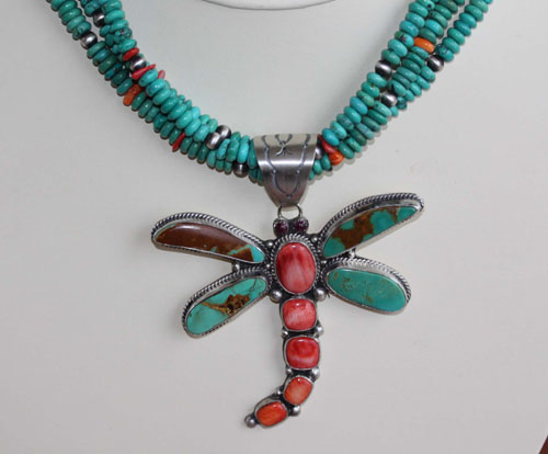 Navajo Turquoise Necklace with Pendant By Emer Thompson