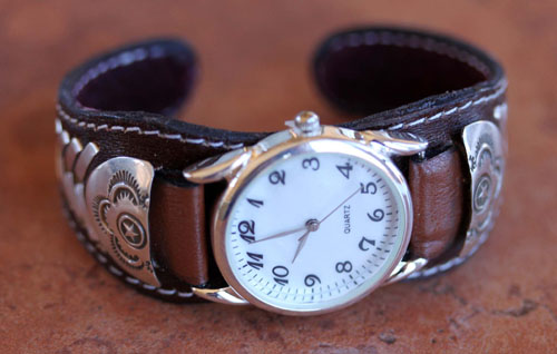 Navajo Indian Leather Men's Watch Bracelet