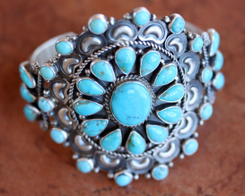 Navajo Silver Turquoise Cluster Bracelet by Dean Brown