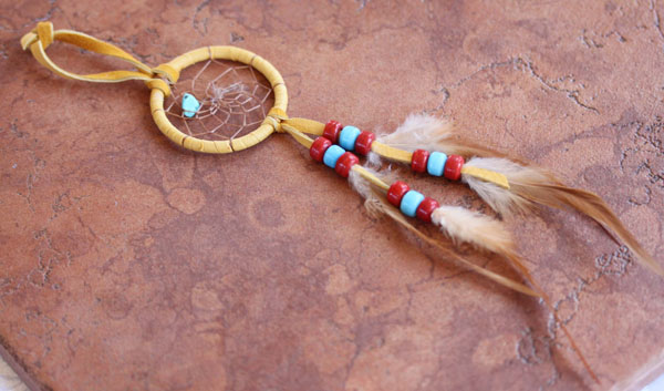 Navajo Handmade Leather Beaded Dreamcatcher