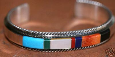 Navajo Native American Indian Multi_Stone Bracelet by F. Yazzie
